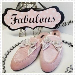 Victoria's Secret Pink Velvet Rhinestone Slippers